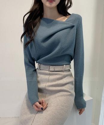 ★正韓 Urania WP ★ 時尚柔美 造型翻摺領 質感長袖針織上衣 (兩色)