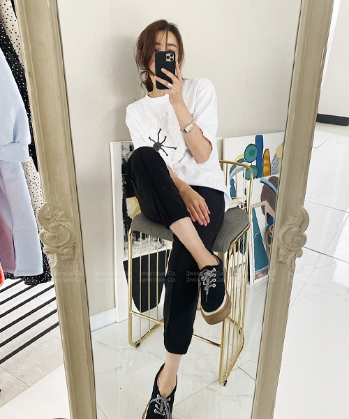 ★正韓代購 TELEN CASUAL ★ 時尚線條感 口袋鬆緊休閒褲(兩色)(SML)