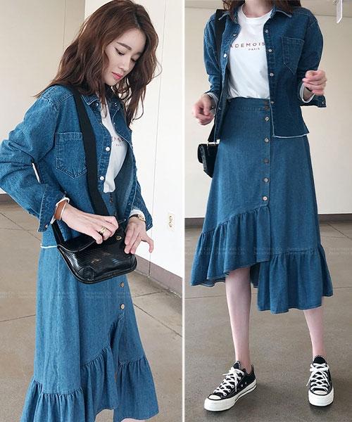 ★正韓代購 LORA JEANS ★ 時尚造型 不規則純棉荷葉牛仔裙 (兩色)