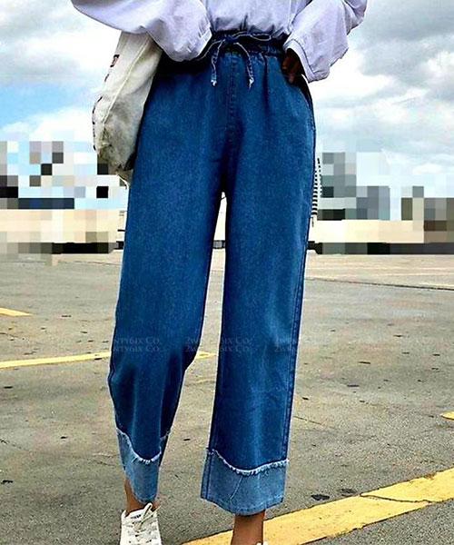 ★正韓 JC KENNY ★個性休閒 鬆緊綁帶 造型反摺褲管 牛仔寬褲 (兩色)