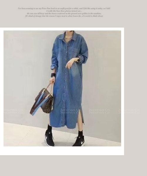 ★正韓 Cynthia JS ★ 個性休閒 翻領排扣 側開叉 長版牛仔連衣裙