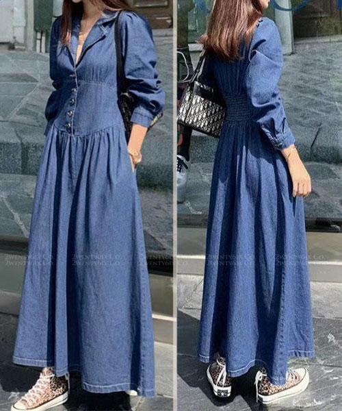 ★正韓 Dolly Jeans SK ★ 率性柔美 顯瘦縮腰 皺摺牛仔連衣長裙 (兩色)