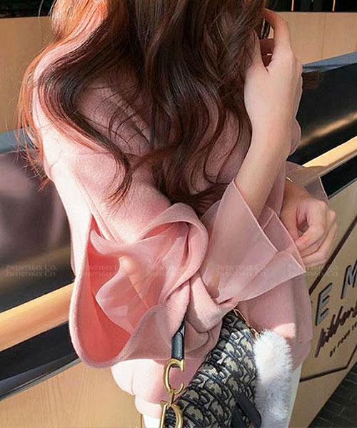 ★正韓 Mavis Yarn ★ 休閒浪漫 拼接假兩件紡紗袖 棉感上衣 (四色)