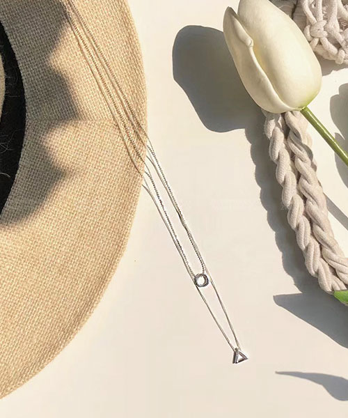 ★ 韓國 GEO JOE ★ 925純銀 簡約率性 造型幾何層次雙鍊