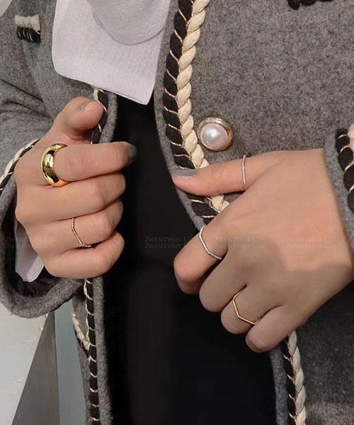 ★ 韓國 Lozenge RG. ★ 925純銀 時尚菱方格造型戒指 (兩色/三尺寸)