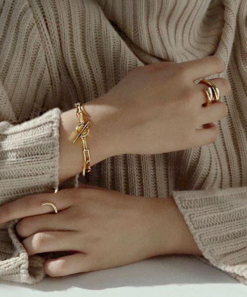 ★ 韓國 Winifred 925純銀鍍18K金 ★ 個性粗曠寬圈串 T扣手鍊 (兩色)