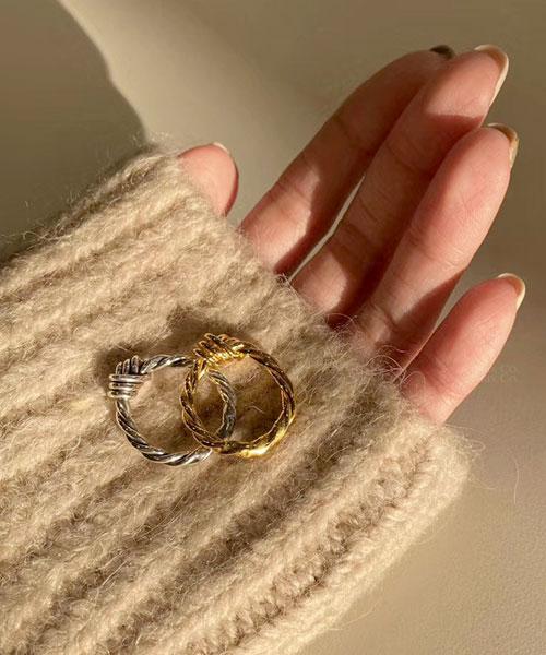 ★ 韓國 Lozenge Knot. ★ 925純銀鍍18K金 時尚扭結戒指 (兩色/三尺寸)