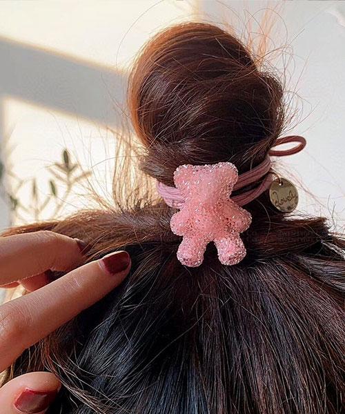 ★ 韓國 Jelly Bears ★ 俏皮可愛 果凍小熊圓金屬牌髮圈 (三色)