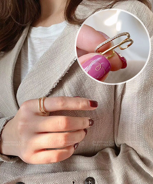 ★ 韓國 Tess Rhinestone ★ 時尚魅力 閃耀水鑽雙層 開口戒指