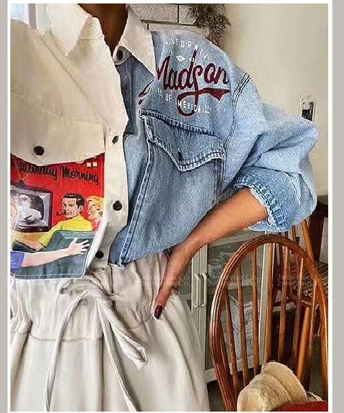 ★正韓 American Tee ★ 率性別緻 拼接牛仔動漫印刷 翻領排扣上衣 (兩色)