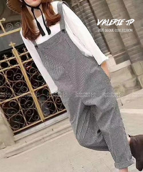 ★正韓 Valerie JP ★ 休閒率性 可愛經典素面格紋 口袋 寬鬆舒適吊帶褲