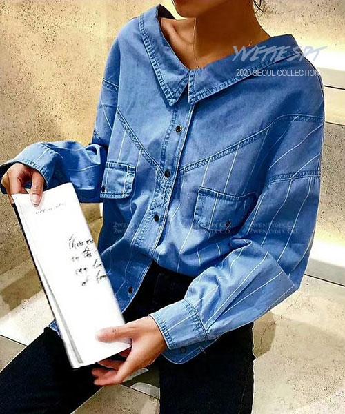 ★正韓 Yvette SPT ★個性前後別緻V領 條紋排扣長袖襯衫 (兩色)