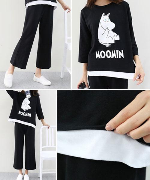 ★正韓正品 Moomin ★ 俏皮嚕嚕米七分袖假兩件上衣&長褲 (M/L)
