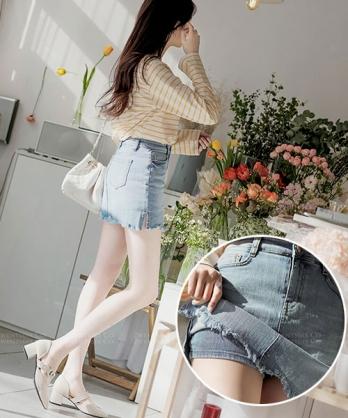 ★正韓 Caravaggio JS ★ 性感率性 超棉感刷色刷鬚 牛仔褲裙 (兩色)