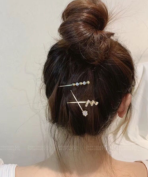 ★ 韓國 Camille CP ★ 時尚閃耀 幾何水鑽金屬珠一字髮夾 ( 1組3入)