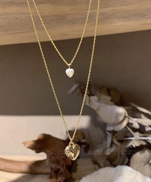 ★ 韓國 Belen Heart ★  時尚浪漫 雙心珍珠金飾雙鍊 (一組兩鍊)