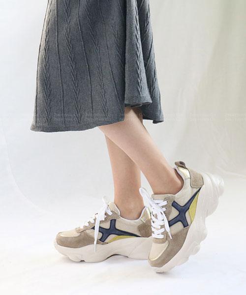 ★韓系Cosmopolitan★ 真皮拼粗帆布 撞色5.5CM 厚底老爹鞋 (兩色)