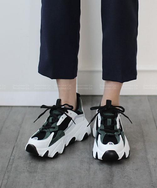 ★韓系MALDIVES OD ★個性真皮拼粗網布 撞色6M厚底老爹鞋 (兩色)