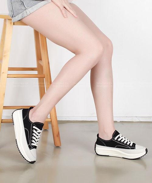 ★正韓 LYON PLATFORM  ★ 簡約率性 質感帆布 4cm厚底休閒鞋 (四色)