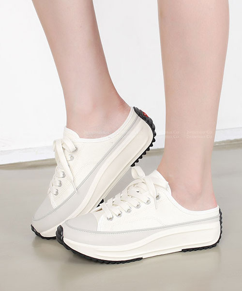 ★正韓 LYON L-PLATFORM ★ 簡約率性帆布 4cm厚底半拖鞋  (兩色)