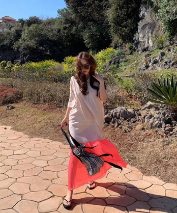 ★正韓 Colleen ★ 時尚撞色 純棉拼紡紗 一片式翻領連衣裙 (兩色)