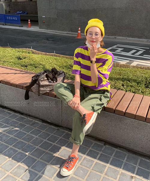 ★正韓 Bee EYE ★ 休閒時尚橫條紋撞色 棉感短袖上衣(三色)