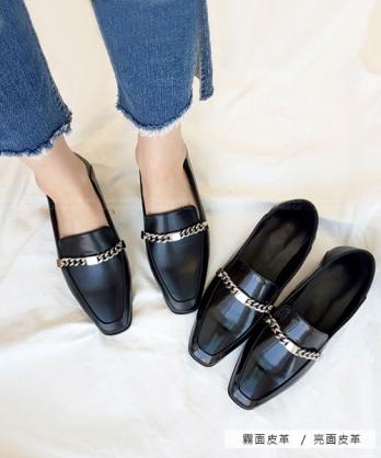 ★韓系Chrissie Loafer ★ 時尚經典皮革 飾扣低跟樂福鞋 踩腳鞋  (兩款)