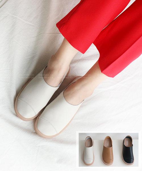 ★韓系 Lamong Lea ★ 簡約真皮皮革 焦糖橡膠底 踩腳鞋 休閒鞋 (三色)