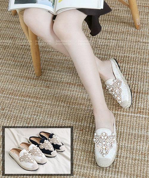 ★韓系 Gothic Lace ★ 個性歌德風珍珠棉麻蕾絲麻繩底半拖鞋 (兩色)