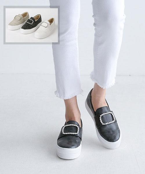 ★正韓 Dorothy RHN ★ 時尚復古刷色 閃耀方鑽飾扣 鬆糕厚底樂福鞋 懶人鞋  (三色)