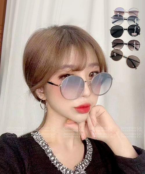 ★ 韓國 GD SHINE ★ 時尚文青 質感造型漸層可愛圓款墨鏡(五色)&加購眼鏡皮套