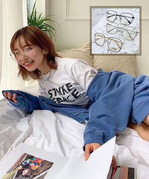 ★ 韓國 INS爆款 Youth ★ 時尚文青 造型大方框平光眼鏡 (三色) &加購眼鏡皮套