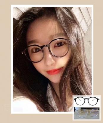 ★ 韓國 KJ ★ 時尚質感 個性黑框瓶光眼鏡 (兩色) &加購眼鏡皮套