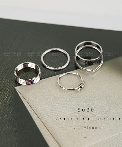 ★正韓 Silver Ommi ★ 時尚個性 分層質感戒指 5件組 (銀款)