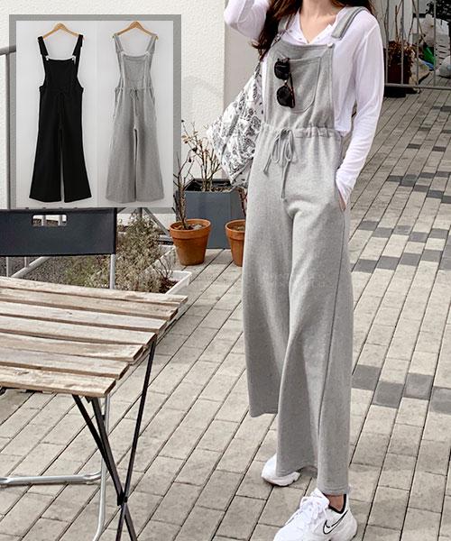 ★正韓 MelBaby ★休閒率性 棉感寬鬆綁帶吊帶褲 (兩色)