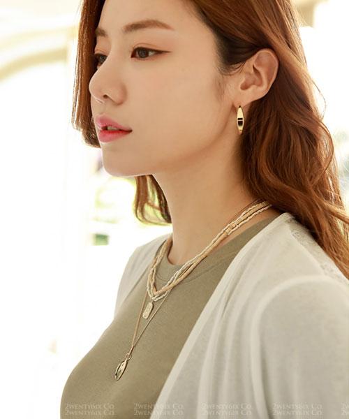 ★ 韓國 Holiday Charm ★ 時尚魅力 層疊木珠金屬吊墜雙鍊 (兩件組)