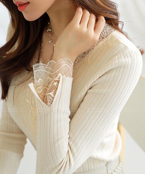 ★正韓 Neome Lace ★ 迷人柔和 蕾絲袖領 直條壓紋針織上衣 (五色)