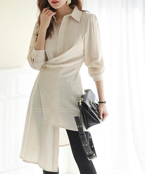 ★正韓 Luxury Nicola ★時尚不規則設計線條 翻領長版上衣(三色)(兩穿法)
