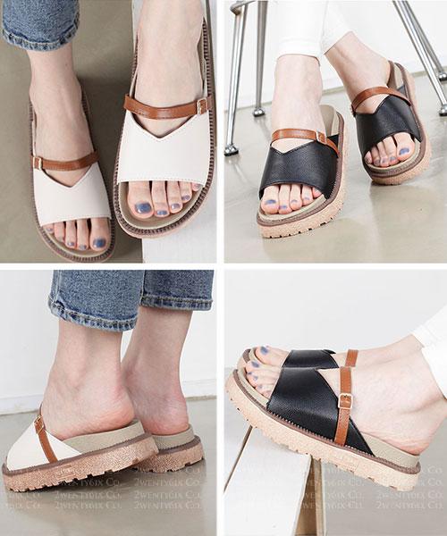 ★韓系 Cecilia Buckle ★ 日常休閒 修飾腳型飾扣帶 3.5cm厚底勃肯拖鞋 (三色)
