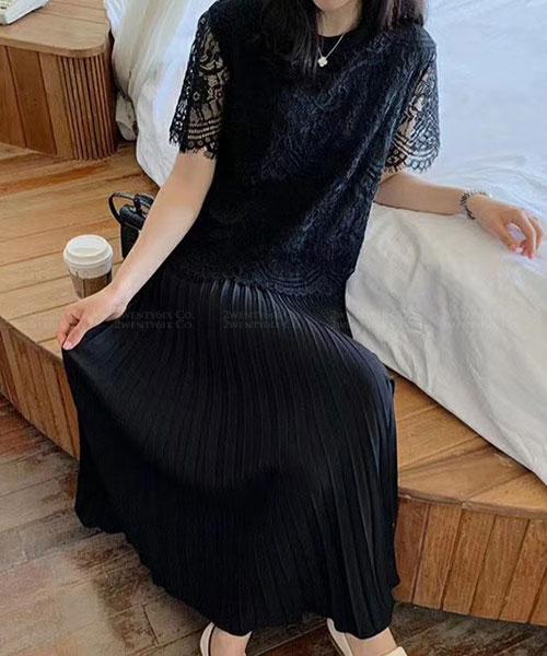 ★正韓 Calista Lace 優雅氣質 蕾絲短袖上衣套拼百摺連衣裙