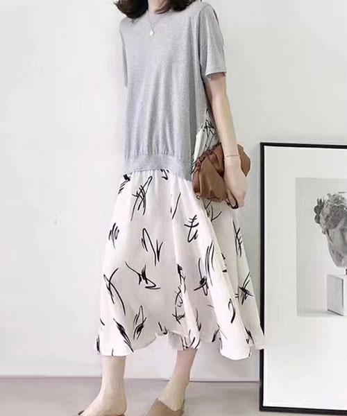 ★正韓 RANA FU ★ 休閒棉感短袖上衣 拼春分氣息花卉連衣裙 (三色)