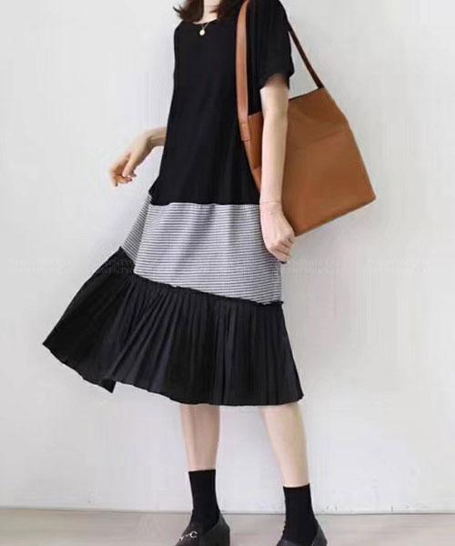 ★正韓 Darling Patch ★ 時尚魅力 條紋皺褶拼接質感連衣裙 (三色)