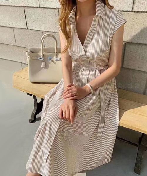 ★正韓 Sunny STT ★ 夏日風情 休閒條紋 綁帶 翻領排扣連衣裙 (三色)