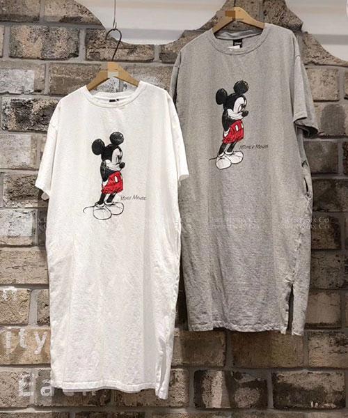 ★正韓 Disney Mickey ★ 正品聯名 大米奇印刷 口袋長版上衣 (三色)