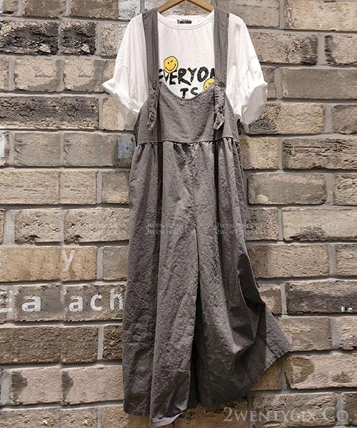 ★正韓 LEN-JP ★ 休閒極簡 亞麻帆布 質感寬褲 吊帶褲 (三色)