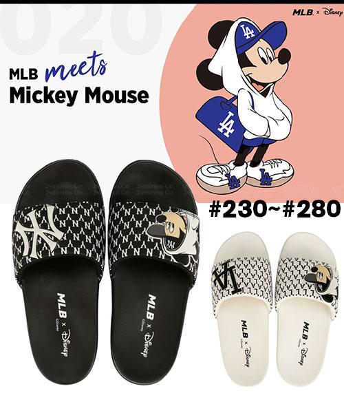★韓國正品MLB x Disney [限量聯名] NY洋基/LA道奇 厚底拖鞋