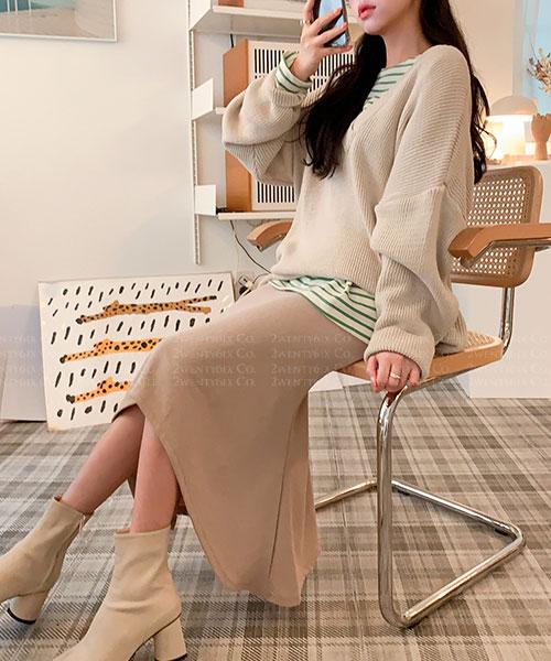 ★正韓 ENID SK ★ 個性休閒 百搭質感 V領柔軟針織上衣 (三色)