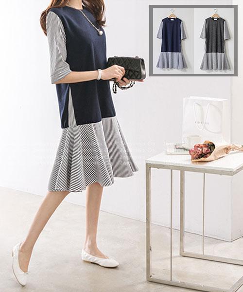 ★正韓 LAMAIN ★ 休閒時尚 素面拼接條紋 假兩件連衣裙 (兩色)