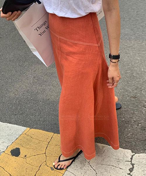 ★正韓 PIPPN UE ★ 個性休閒 亞麻素面 百搭修身 喇叭長裙 (三色)(SM)
