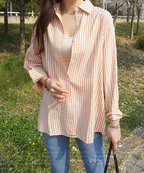 ★正韓 Peach & Mint ★ 個性休閒 夏日氣息翻領條紋襯衫 (兩色)